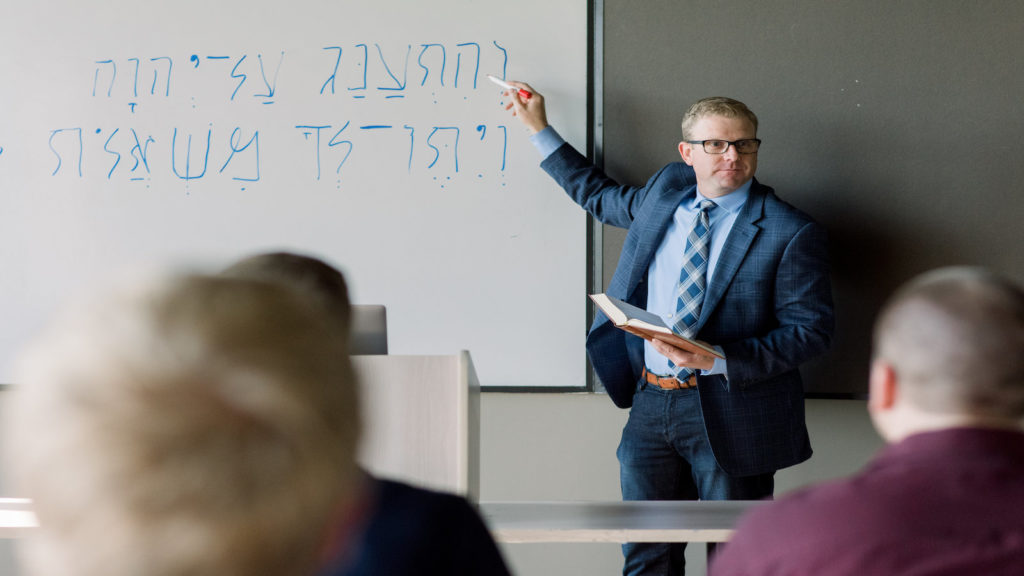 Dr. Vaillancourt teaching Hebrew